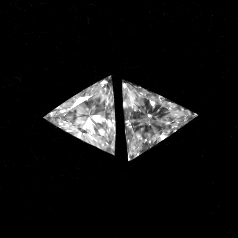 Two Leibish triangle shaped diamonds