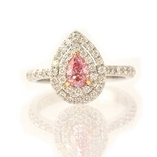 0.34ct Fancy Intense Purplish Pink Pear Shape Diamond Ring