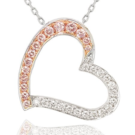 0.37 Carat, Fancy Pink Diamond and White Diamond Pave Heart Pendant