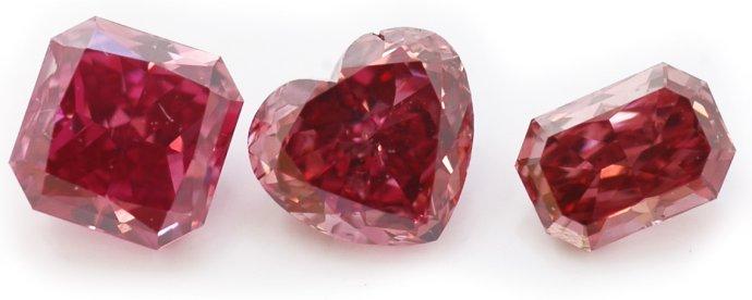0.42ct, Fancy Purplish Red, Rectangular Radiant, 0.35ct, Fancy Purplish Red, Heart-shaped, 0.22ct, Fancy Purplish Red, Radiant