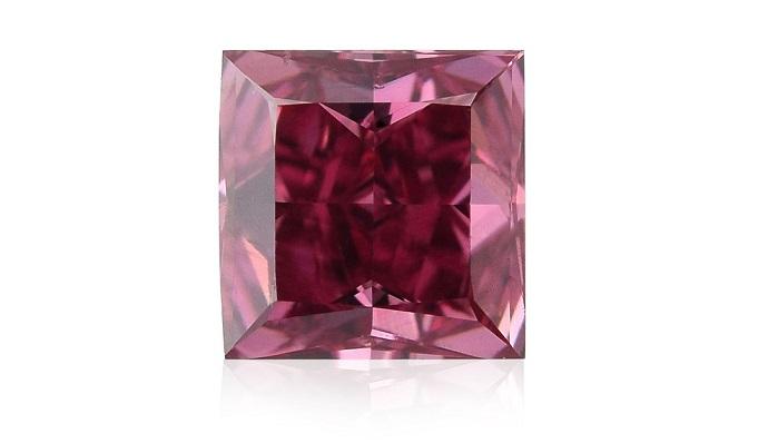 0.50 ct fancy red, princess cut diamond