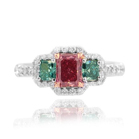 0.53 carat fancy red diamond ring