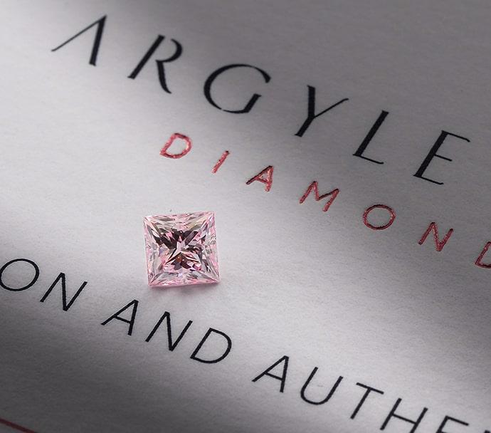 0.54 carat, Fancy Intense Purplish Pink Diamond, Princess Shape, SI1 Clarity, ARGYLE & GIA