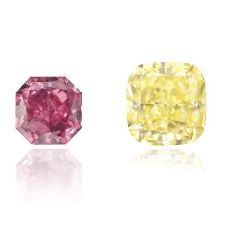 A radiant and cushion cut diamond