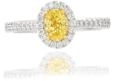 0.60 Carat, Oval Fancy Yellow Diamond Halo Ring with Pave Setting, Oval