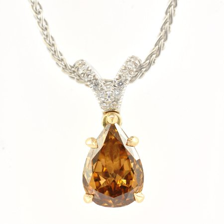 Anhänger mit Solitär-Diamant in Birnenform in Fancy Orangy Brown mit 1,00 Karat