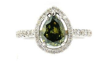 Grüner Diamantring mit 1,00 Karat