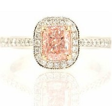 1.02ct, Fancy Light Pink, Pave mill grain halo ring, radiant SI2