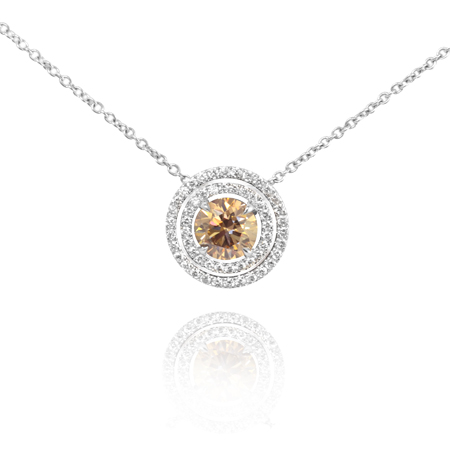 1.03 Carat, Fancy Light Yellowish Brown Double Halo Pendant, GIA