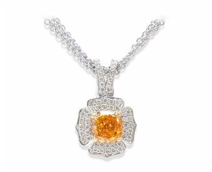 1.06 carat Fancy Intense Orange Pendant