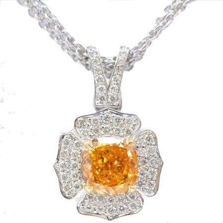 1.06ct Fancy Intense Orange Cushion diamond, SI1, Necklace