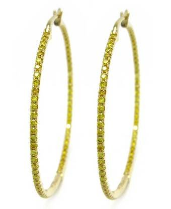 1.24ct, Yellow Diamond Hoops