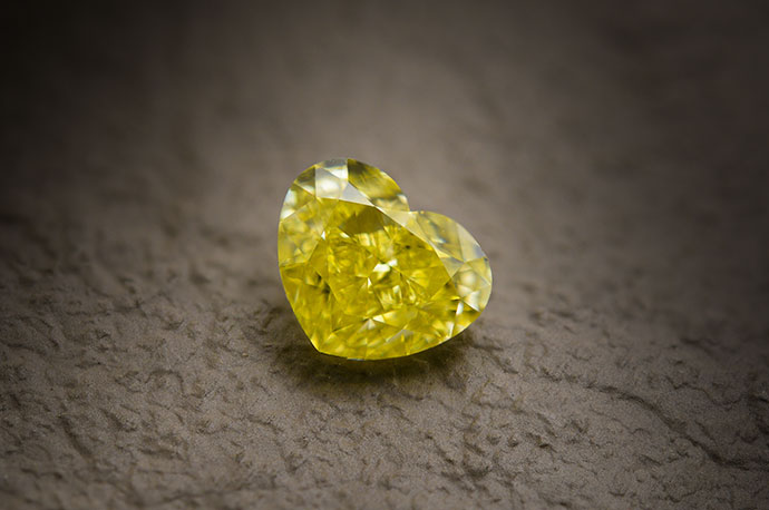 1.25 carat, Fancy Intense Yellow Diamond, Heart Shape, VS2 Clarity, GIA
