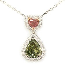 1.26 Carat, Fancy Dark Grayish Yellowish Green Pear & Fancy Vivid Pink Heart Pendant, Pear, SI2