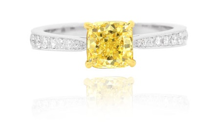 1.44 Carat, Fancy Yellow Cushion Diamond Pave Side Stone Ring, Cushion, VS2