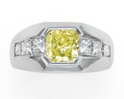 1.53ct Fancy Intense Yellow Green Diamond Ring