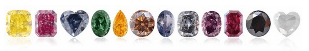 12 colors of fancy color diamonds