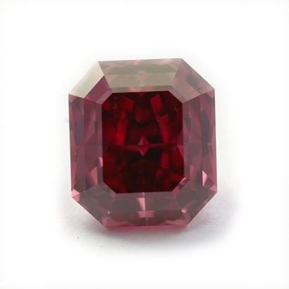 Fancy Purplish Red Asscher-cut diamond.