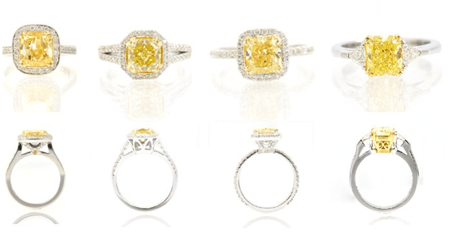 cy Yellow Diamond Rings, and Side Views