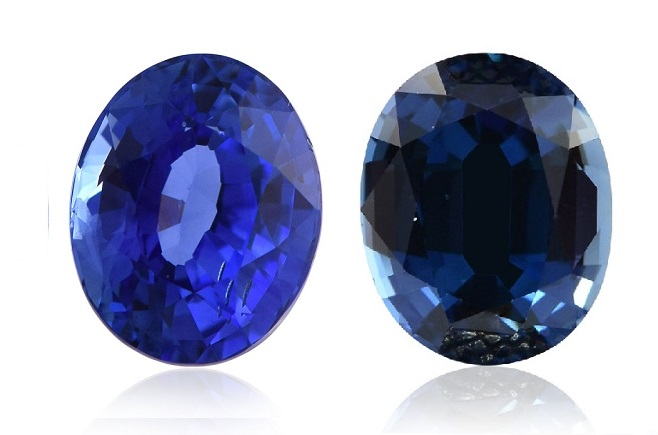 2 Sapphires in different tones of blue