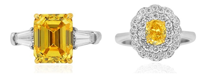 A Zimmi yellow diamond ring and a regular Vivid Yellow diamond ring
