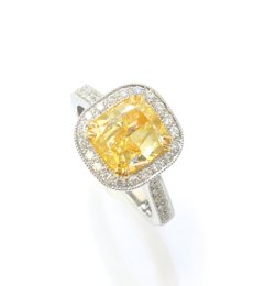 2.00 ct, Fancy Yellow, Cushion-shaped diamond ring -C5171