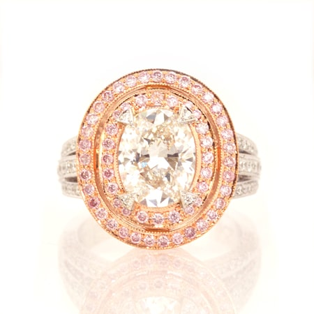 Leibish & Co. Colorless and Fancy Pink diamond double halo ring