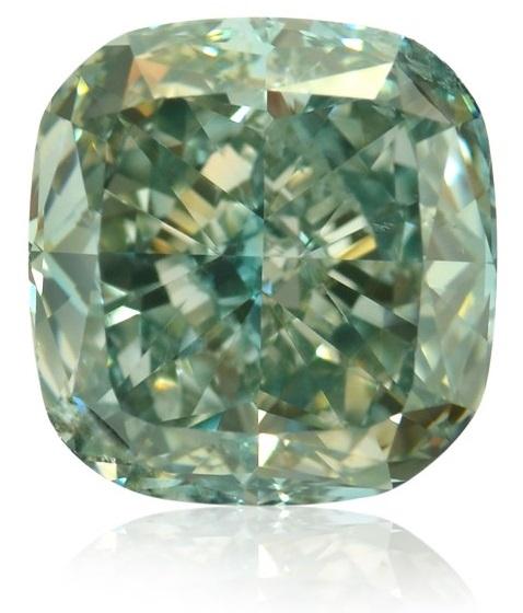 2.06 carat, Fancy Intense Blue Green, Cushion Shape, SI1 Clarity, GIA certified