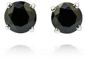 Leibish & Co. Fancy Black Diamond stud earrings in 18K white gold