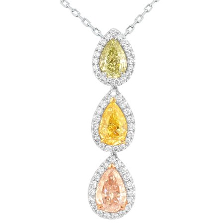 2.39 Carat, Green Yellow, Pink and Yellow Pear Diamond Multiple Stone Drop Pendant