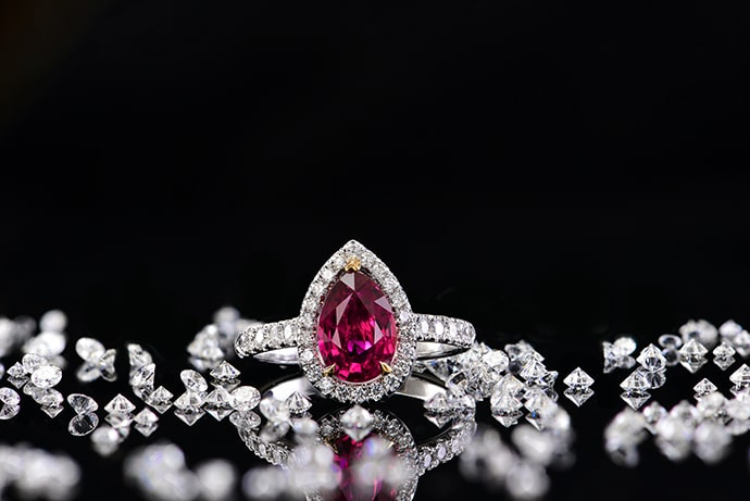 Unheated Pear Ruby and Diamond Halo Ring