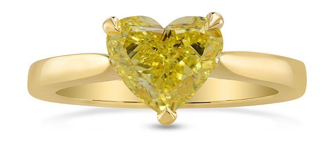 Fancy Intense Yellow Heart Diamond Solitaire Ring (1.39Ct)