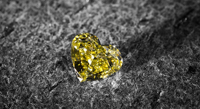 2.02 carat, Fancy Yellow Diamond, Heart Shape, VS2 Clarity, GIA