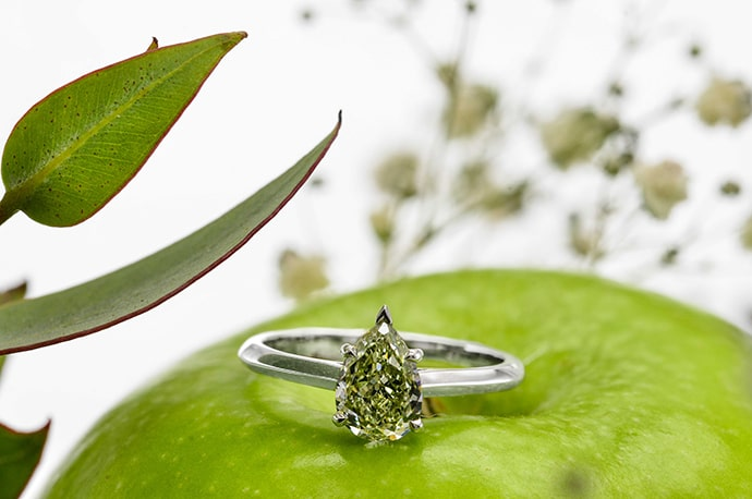 A natural chameleon diamond ring