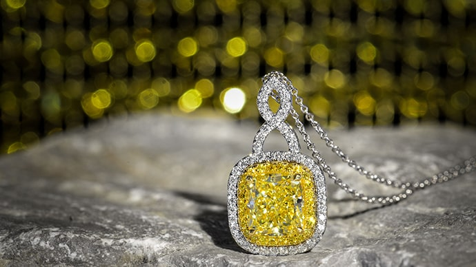 Fancy Intense Yellow Cushion Diamond Drop Pendant