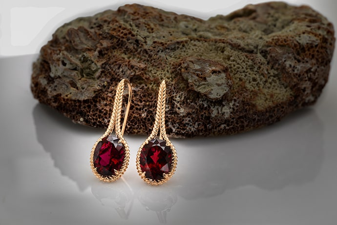 Rose Gold Oval Rubellite Drop Earrings (6.54Ct TW)