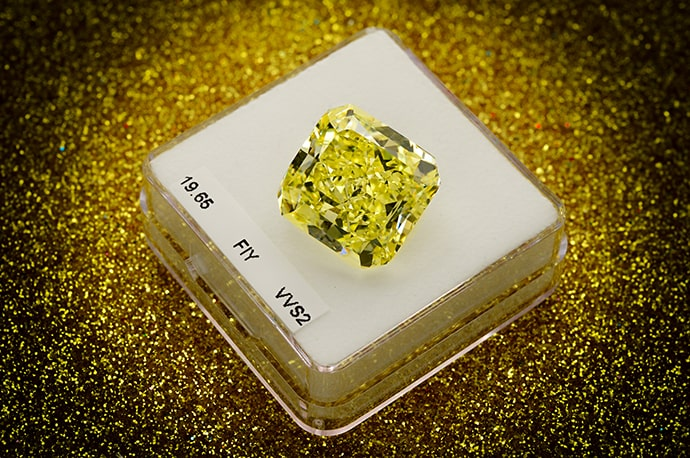 19.65 carat, Fancy Intense Yellow Diamond, Radiant Shape, VVS2 Clarity, GIA