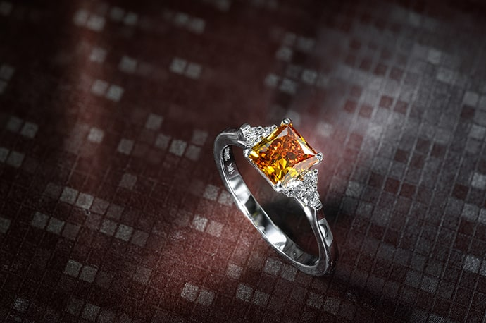 Orange diamond engagement ring
