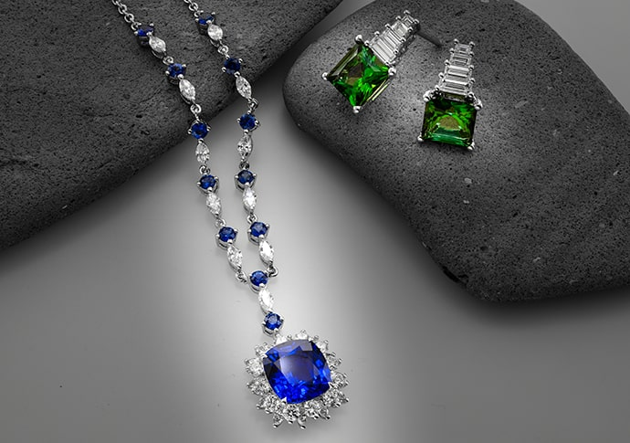Green Tourmaline and Diamond Drop Earrings