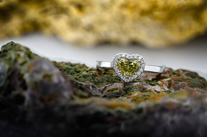 Fancy Brownish Greenish Yellow Heart Diamond Halo Ring