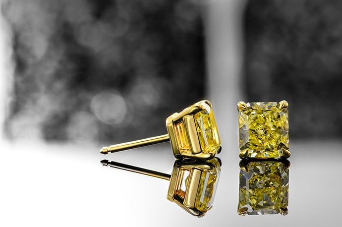 Fancy Yellow Radiant Diamond Earrings