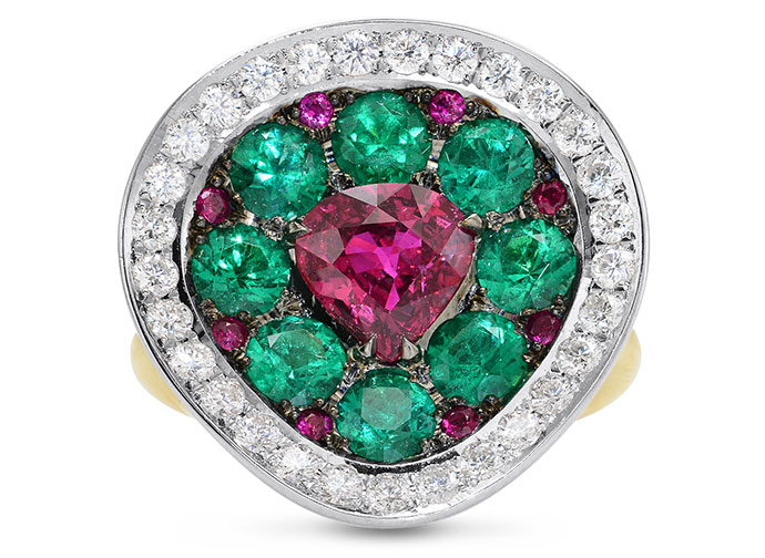 Extraordinary Ruby Emerald & Diamond Ring (4.16Ct TW)
