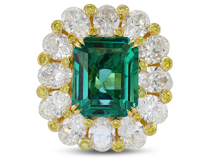 No Oil Zambian Emerald and Fancy Intense Yellow Extraordinary Ring (9.82Ct TW)