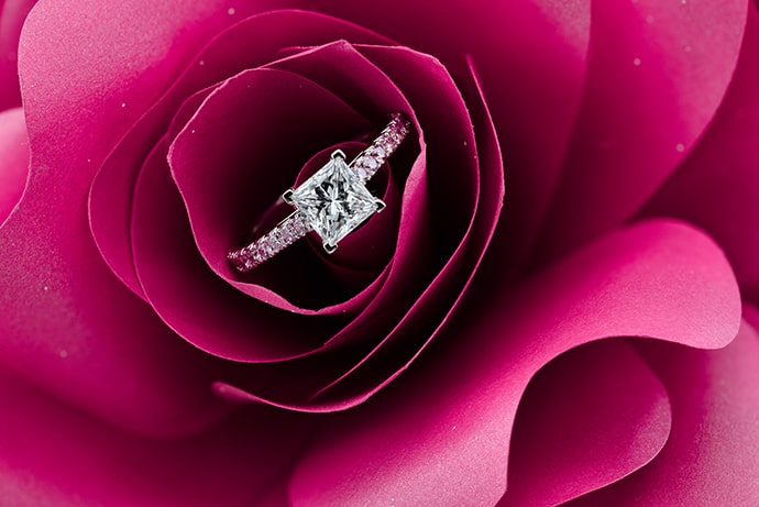 1.34 carat (TW) Princess-cut & Pink Diamond Engagement Ring