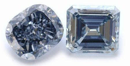 3-carat fancy grayish blue cushion and a 2-carat fancy grayish blue emerald diamond