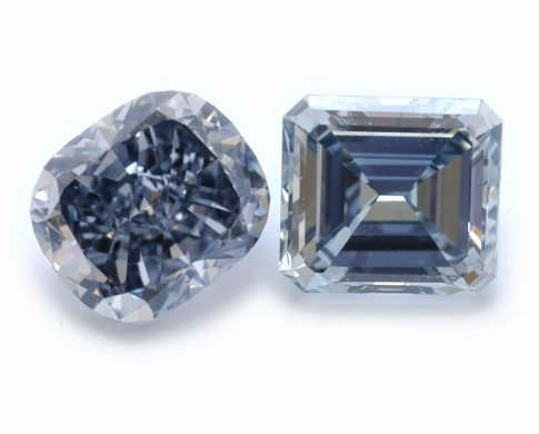 3.11-carat, Fancy Deep Grayish Blue Cushion and a 2.83-carat, Fancy Grayish Blue Emerald
