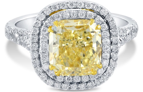 3.18 ct Fancy Intense yellow diamond ring