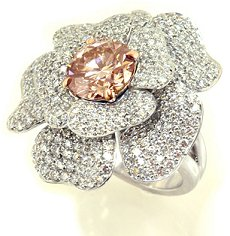 3.21ct Round, Fancy Light Pinkish Brown - Designer Ring