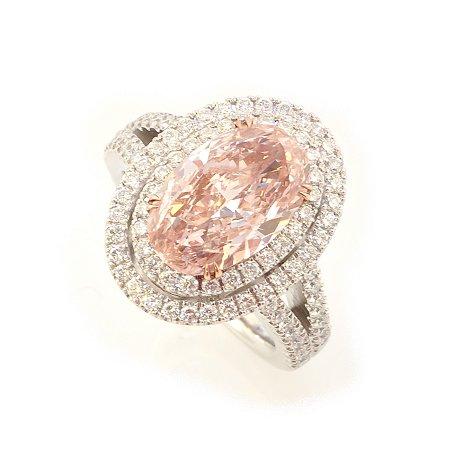 3.30 Carat, Fancy Orangy Pink Diamond Ring