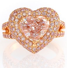 3.57ct Heart shape, Pink - Designer Ring